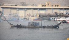 گزارش تصویری از اطفا حریق لنج های اسکله چند منظوره کنگان